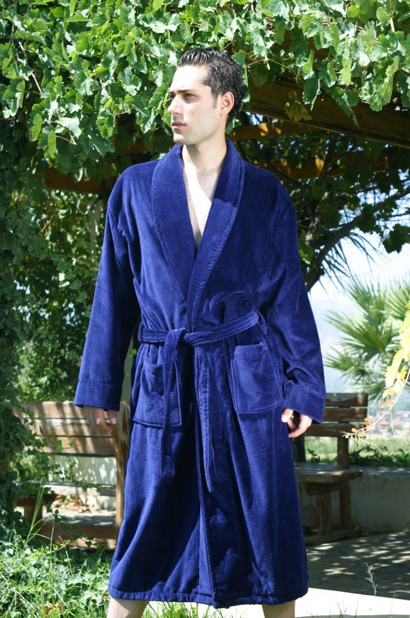 d569638907 Towelling dressing gown for men. Luxury Men s velour bathrobes. Men s  Hooded Velvet Robes