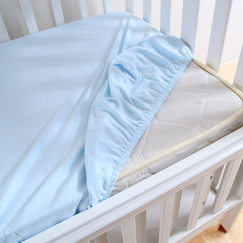 Blue Jersey Cotton Cot Bed Sheets. Fitted Baby Bed Sheets